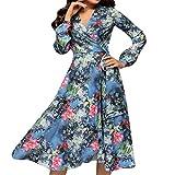 Tosonse Elegante Vestido De Oscilación Floral para Mujeres Vestidos De Fiesta De Noche Vestidos Vintage Renacentistas