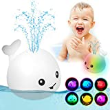 ZHENDUO Baby Bath Toys, Whale Induction Squirt Toy LED Light Up Bath Toys, Bathtub Shower Toys for Baby Toddlers Pool Fountain Toy, Automatic Induction Sprinkler Bath Toy (White)