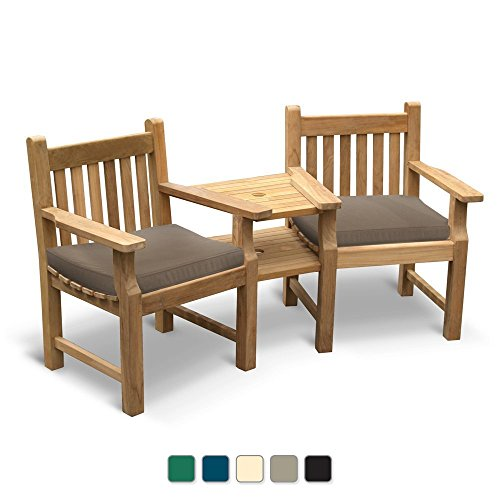 Jati Turner Teak Garden Love Seat - Tete a Tete 2 Seater Companion Seat including Taupe Cushions Brand, Quality & Value