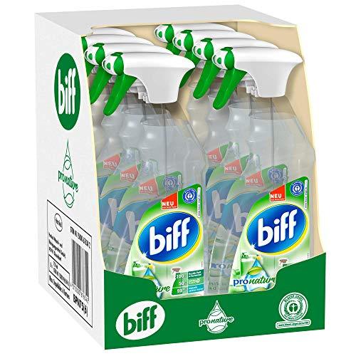 Biff Pro Nature Badreiniger, Sprühflasche, 8 x 750 ml, mit 99,9 Prozent naturbasierten Inhaltsstoffen und nachwachsenden Rohstoffen aus nachhaltigem Anbau