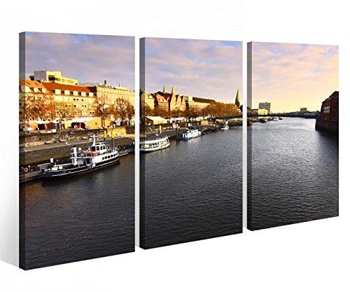 Leinwandbild 3 Tlg. Skyline Bremen Hafen Fluss Stadt Leinwand Bild Bilder Holz fertig gerahmt 9P973, 3 tlg BxH:120x80cm (3Stk 40x 80cm)