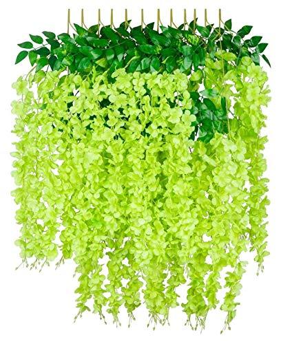 XIALITR 12 flores artificiales de glicina de 45 pulgadas, guirnalda de vid de seda para colgar en bodas, fiestas, jardín, exteriores, decoración de pared de oficina, color verde
