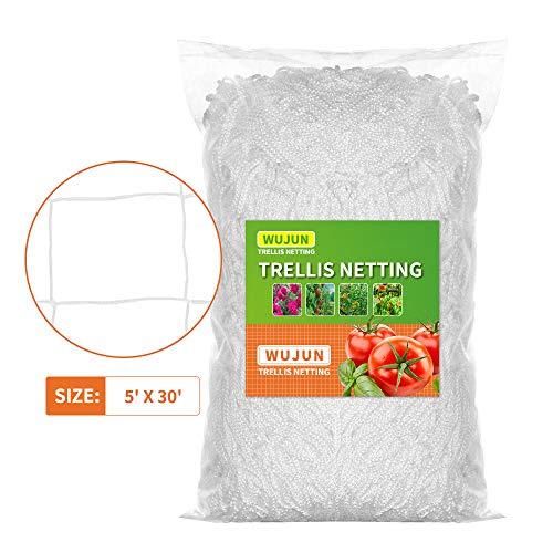WUJUN 5Ft x 30Ft Pflanzenstütze Hydrokultur-Spalier Netz Wachstumszelte strapazierfähiges Polyester-Garten-Pflanzennetz weiches Netzfaden