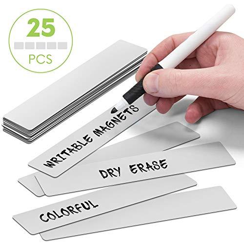 25 balkmagneten herbeschrijfbaar 15 x 2,5 cm voor magneetborden, koelkasten, planborden en whiteboards. 15 x 2,5 cm grijs