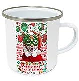 teesquare1st Christmas Cat Scared 10oz Tazza da Caffe Natalizia/Tazza di Natale