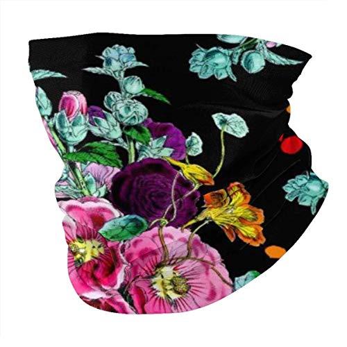 Pañuelo antiviento con estampado de hojas de neón, lavable, antipolvo, pasamontañas