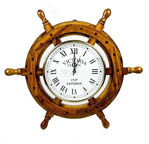Nagina International Nautisches Steuerrad Quarz-Uhr, aus Holz, Piraten-Heimdekoration, zum Aufhängen an der Wand, holz, braun, 41 cm