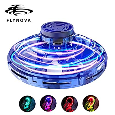 ANYSUN UFO Drone Toy for Kids or Adults,FlyNova Flying Spinner Fidget Toy, Gyro Hand Operated Mini Drones with 360° Rotating and RGB LED Lights,Scoot Boomerang Toy Gifts for Boys Girls (Blue)