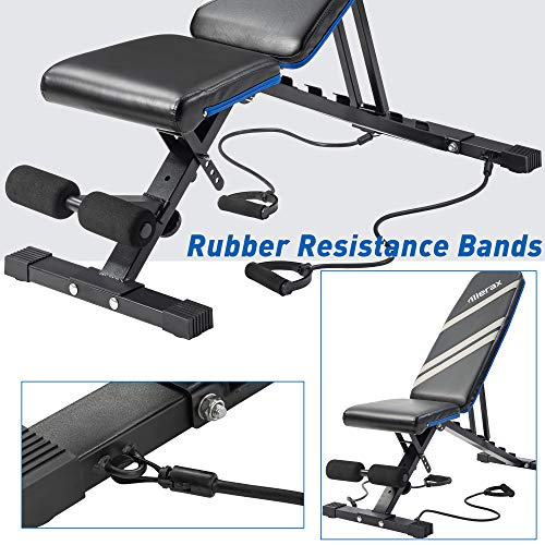 Merax Adjustable Workout Bench Folding Utility 500LBS Super Max Weight Bench 6 Position AB Incline Gym Equipment