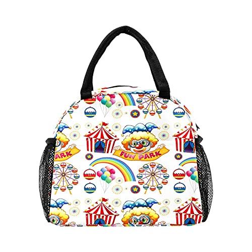 Divertido saco de almuerzo con diseño de arco iris y payasos de circo para mujer, con aislamiento, reutilizable, bolsa térmica para el trabajo, picnic