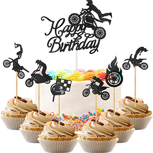 50 Pieces Glittery Motocross Cake Toppers Motorcycle Themed Cupcake Toppers Happy Birthday Cake Decorations Set for Man's Birthday Party or Boy's Dirt Bike Themed Party