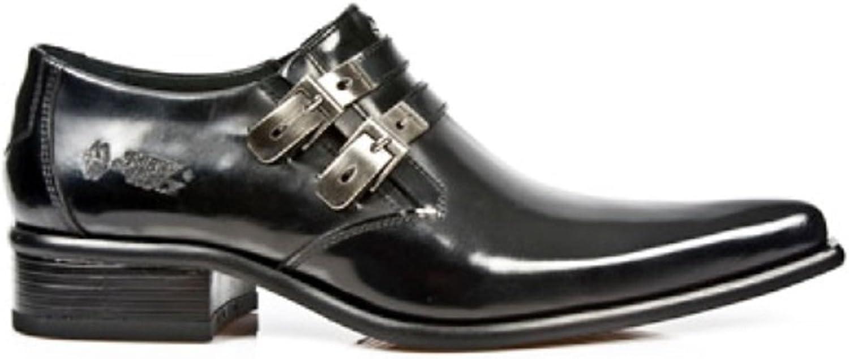 New Rock Newrock 2246-S20 Schwarz Leder West Stehlen Schnalle Schuhe