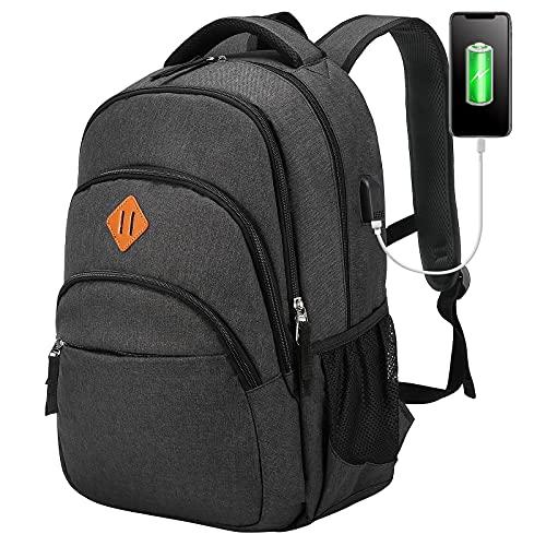 LOVEVOOK Laptop Rucksack Herren Damen 15,6 Zoll, Stylischer Daypack mit USB Ladeanschluss, Große Wasserdicht Schulrucksack Backpack für Arbeit Schule Freizeit-Dunkelgrau