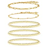 14K Gold Beaded Bracelets for Women,Dainty Gold Plated Chain Link Bracelet Stretchable Adjustable Bracelet(5PCS)……