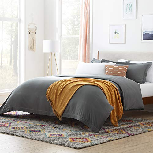 Linenspa Microfiber Duvet Cover - Three Piece Set Includes Duvet Cover and Two Shams - Soft Brushed Microfiber - Hypoallergenic, Charcoal, Queen