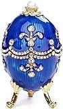 Sala de estar, dormitorio, estudio, hogar, oficina Joyería rusa de huevos de metal Artesanía Creativa Inicio Accesorios negocios de regalos Adornos Europea Blue Box 5.2 * 8.5CM hermosa y elegante