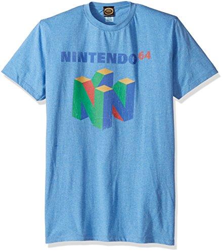 Nintendo Men's N64 Logo Short Sleeve T-Shirt, Premium Light Blue Heather, 2XL