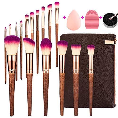 MAGIMODAC Schminkpinsel Kosmetikpinsel Gesichtspinsel Set Holz mit Tasche 17 Stück Make up Pinsel...