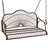 Best Choice Products Hanging Iron Porch Swing Bench Outdoor Patio Furniture for Garden, Deck w/Armrests, Mounting Chains