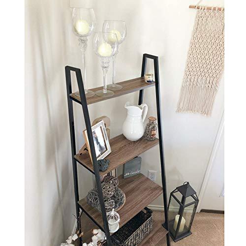 Blissun Ladder Shelf, 4-Tier Bookshelf, Storage Rack Shelf for Office, Bathroom, Living Room, Hazelnut Brown