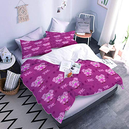 LMHWW Duvet Cover Bedding Set With 2 Pillowcases, With Zipper Closure - Purple Anime Pig Quilt Cover3D Printing Ultra Soft Polyester Cotton Bedding Set For Bedroom Decor, Single