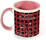 Taza de café de cerámica divertida - Árbol de planta de feliz Navidad con ilustración de saludo de sombrero para hombres / mujeres / cumpleaños / vasos de Navidad tazas-rosa-patrón