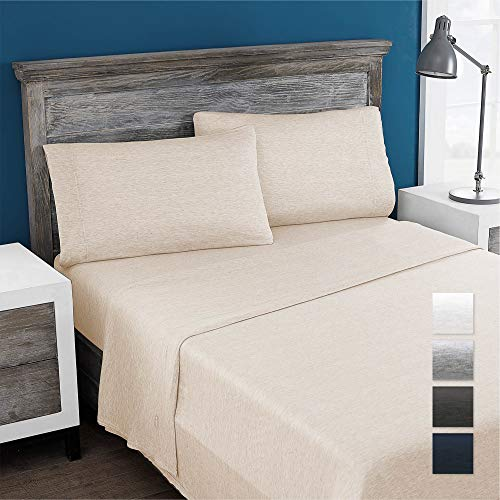 Columbia Eco-Friendly 100% Modal Jersey Knit Performance 3-Piece Sheet Set - Omni-Wick Stay Dry Technology – Incredibly Soft, Stretchy, Cool and Comfortable - Twin, Heathered Oatmeal