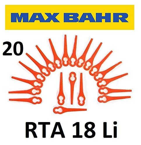 20 Max Bahr Ersatzmesser RTA18Li - Akku Rasentrimmer - Kunststoff Ersatz Messer PA6 / Schneidplättchen