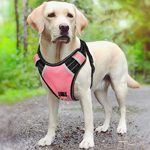 BABYLTRL Big Dog Harness No Pull Adjustable Pet Reflective Oxford Soft Vest for Large Dogs Easy Control Harness (M, Pink)