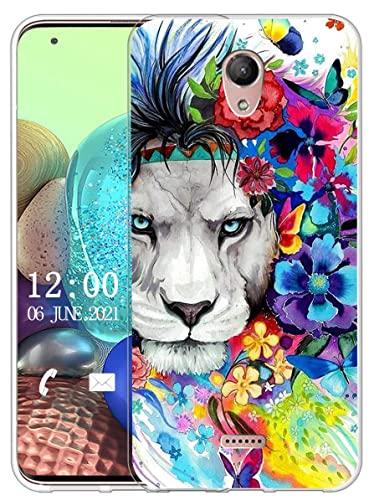 Sunrive Kompatibel mit Wiko U Feel Fab Hülle Silikon, Transparent Handyhülle Schutzhülle Etui Hülle (X Löwe)+Gratis Universal Eingabestift MEHRWEG
