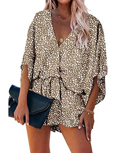 PRETTYGARDEN Women's Fashion Leopard Print Shorts Jumpsuit Wrap V Neck 3/4 Short Sleeve Casual Loose Romper with Pockets (Khaki, X-Large)