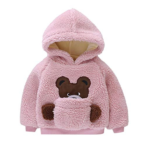 Baby Mädchen Mäntel Winter Warm Kleidung Daunenmantel (3M-24M) Kinder Langarm Plüsch Cartoon Bär verdicken Top Hoodie,Kinder Jacken Dicke Coat Wolljacke Fleece