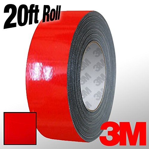 3M 1080 Hot Rod Red Gloss Vinyl Detailing Wrap Pinstriping Tape 20ft Roll (1 Inch x 20ft)