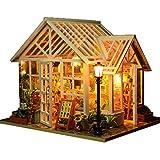 ZHBB Bricolaje casa de muñecas casas de madera miniaturas para muñecas casa de muñecas kit de muebles de casa de muñecas casas de muñecas juguetes para niños regalo invernadero