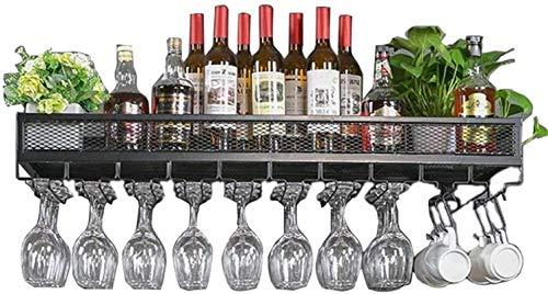 Elegante Botellero, Estante del vino de la pared del estilo de la vendimia Montada forjado del hierro del metal rejilla estante del vino, botella de vino del estante de la barra del arte que cuelgan d