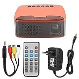 Super Mini proyector Portátil 1080P HD LED Proyector de Bolsillo Home Cinema Beamer Compatible con HDMI, VGA, AV, USB, TF para Cine en casa, películas, Videojuegos, Fiestas y acampadas(110-240V EU)