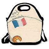 Sitear - Bolsa térmica para el almuerzo, neopreno, reutilizable, grande, impermeable, para viajes al aire libre, trabajo, postal, diseño de la torre Eiffel de París