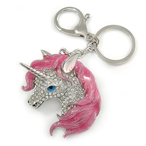 Avalaya - Llavero de unicornio con esmalte rosa y cristal transparente, 10 cm de largo