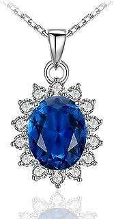 XCFS Silver Plated AAA Cubic Zirconia Blue Sapphire Pendants Women Girls Ocean Hearts CZ Pendant Necklace