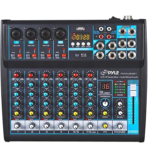 Professional Audio Mixer Sound Board Console Desk System Interface 8 Channel Digital USB Bluetooth MP3 Computer Input 48V Phantom Power Stereo DJ Studio FX 16Bit DSP Processor Pyle PMXU83BT, Black