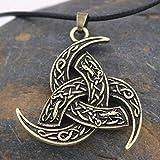Collar Viking Nordic Legend Odin Corner y Dragon Vikings Horn Wolf Retro Colgante Amuleto Apoyo Espiritual de la Cultura vikinga Amorosa (Color : Brass)