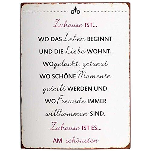 IB Laursen - Metallschild, Schild - Text: Zuhause ist wo. - 35 x 26,5 cm