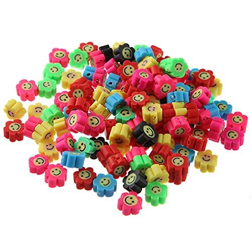 Herbests 100 piezas Surtidas de Arcilla Polimérica de Abalorios de Smiley Face Beads Colorful para Collares Abalorios para Manualidades Fabricación de Joyas para Pulseras, Collares