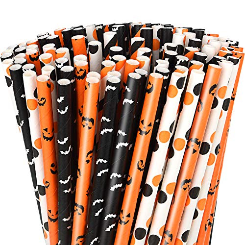 Boao 200 Pezzi Halloween Cannucce di Carta DOT Print a Strisce Nere e Arancioni Cannucce di Carta con Stampa di Scheletro di Pipistrello Zucca per Forniture per Feste di Halloween (Colore Set 1)