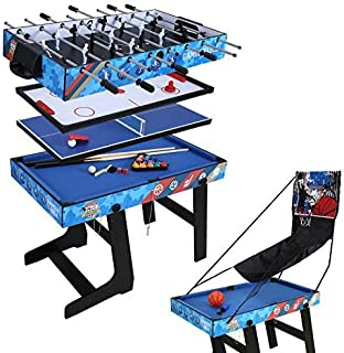 Hysport Multi Game Table 5 in 1 Folding Combo Game Table with Foosball,Slide Hockey,Table Tennis,Billiard,Finger Shoot Basketball
