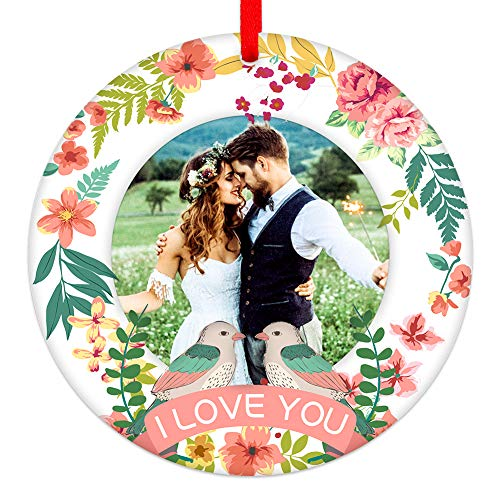 WaaHome Our First Christmas Together Ornaments 2020, 3'' Picture Frame First Christmas Wedding Married Tree Ornaments Tree Decorations, Wedding Marriage Gifts for The Couple Him Her