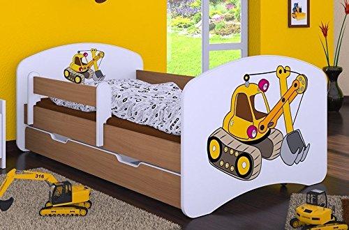 naka24 HB Kinderbett mit Matratze und Bettkasten - NEU, Verschiedene Motive Für Junge Buche (160x80cm mit Schublade, Bagger)