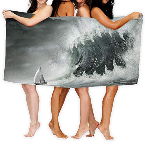 Gebrb Prämie Duschtücher/Badetücher,Strandtücher Large Bath Towel Sailboat Amazing Waves Lightweight High Absorbency Bath Sheet for Beach Home Bathrooms Pool Gym