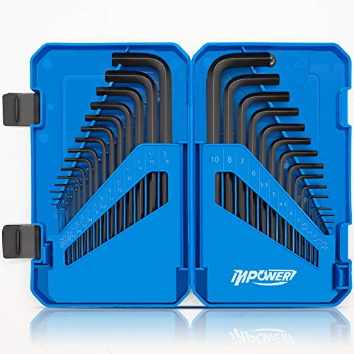 InPower Allen Wrench Set, SAE and Metric Hex Key Set 30pcs, Allen Key Set Tools with Storage Case for Hex Head Socket Screws.