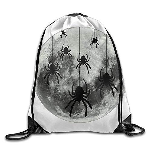 ZHIZIQIU 3D Print Drawstring Bags Bulk, Full Moon Lunar Spider Unisex Outdoor Sack Bag Travel Drawstring Backpack Bag Size: 4133cm